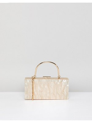 Asos Marble Clutch Bag With Metal Handle