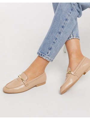ASOS DESIGN mariot leather chain loafers in taupe-beige