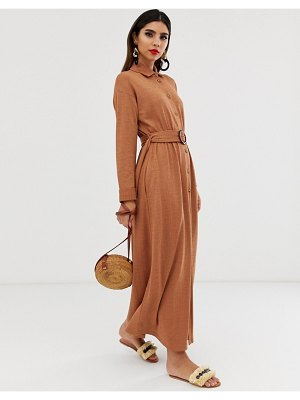 ASOS DESIGN maxi belted textured shirt dress-beige
