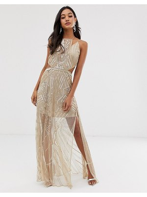 ASOS DESIGN maxi dress with geometric embellishment and sheer panels-gold