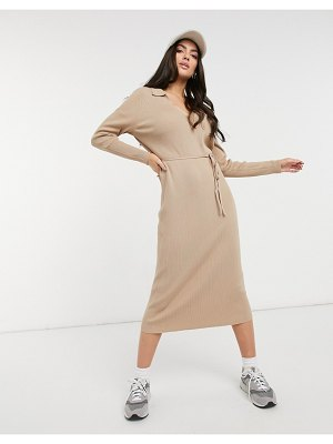ASOS DESIGN maxi dress with open collar and tie detail in camel-stone