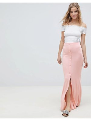 Asos maxi skirt with button front and split detail