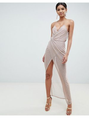 Asos Metallic Drape Maxi Dress