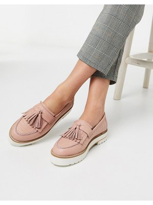 ASOS DESIGN meze chunky fringed leather loafers in pink croc