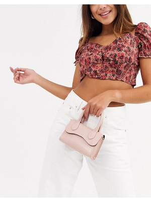 ASOS DESIGN micro grab bag with curved flap and detachable strap-pink