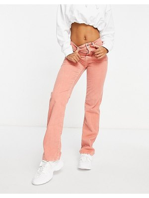 ASOS DESIGN mid rise '90s straight leg jeans in waffle corduroy-pink