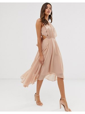 ASOS DESIGN midi dress in satin and crepe with lace trim and tie waist-beige
