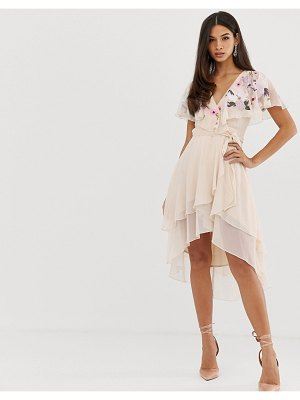 ASOS DESIGN midi dress with cape back and dipped hem in embroidery
