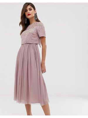 ASOS DESIGN midi dress with embellished crop top and mesh skirt-pink