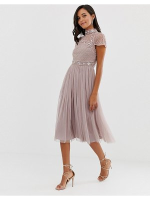 ASOS DESIGN midi dress with embellished crop top and tulle skirt