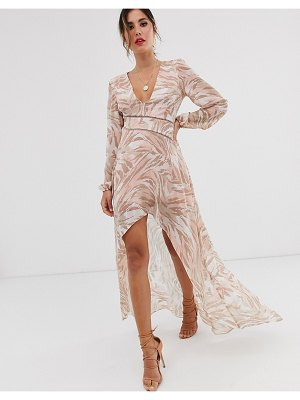 ASOS DESIGN midi dress with lace trims in soft animal print-pink