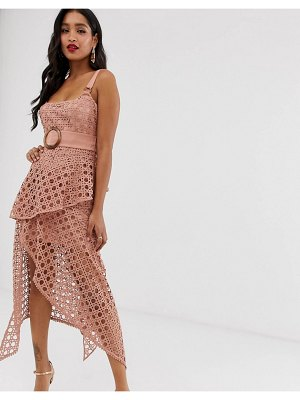 ASOS DESIGN midi dress with square neckline and belt in basket weave lace-pink