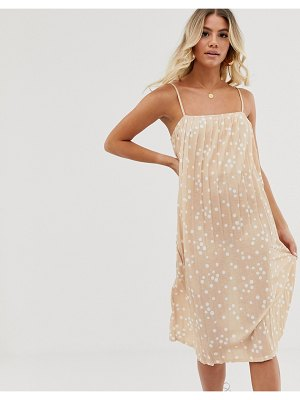 ASOS DESIGN midi pleated textured sundress in spot