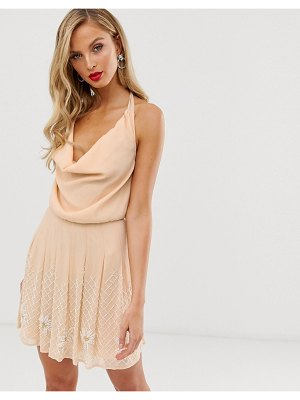 ASOS DESIGN mini dress with cowl neck and embellishment