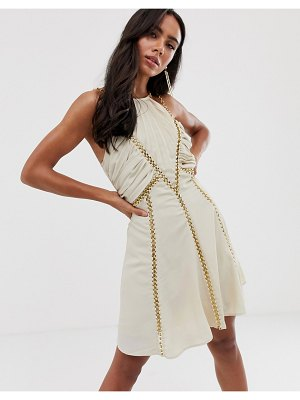 ASOS DESIGN mini dress with ruched bodice and chain inserts-cream