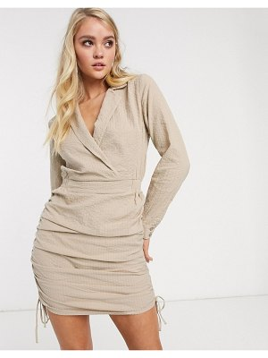 ASOS DESIGN mini shirt dress with ruched sides in stone-beige