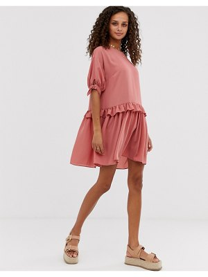 ASOS DESIGN mini smock dress with frill waist and tie sleeve