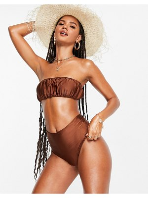 ASOS DESIGN mix and match slinky ruched bandeau bikini top in brown