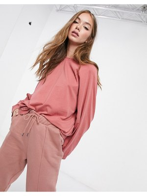 ASOS DESIGN mix & match super oversized top with wide sleeve in vintage wash in rose matching set-pink