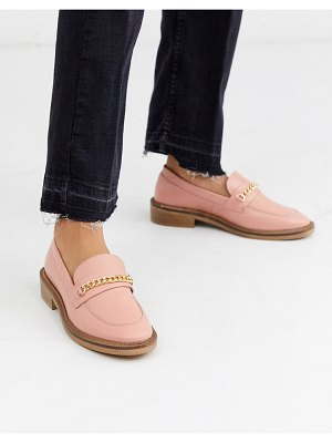 ASOS DESIGN mixture leather chain loafers in peach-pink