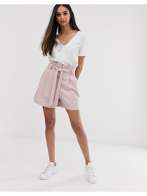ASOS DESIGN mom shorts with tie waist in pink