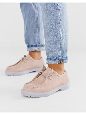 ASOS DESIGN morocco leather chunky lace up flat shoes in pink