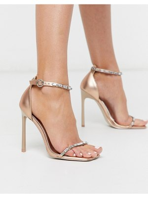 ASOS DESIGN nadiya embellished barely there heeled sandals in rose gold