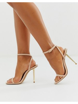 ASOS DESIGN nation metal heel barely there heeled sandals in beige