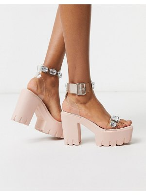ASOS DESIGN naught chunky clear embellished heeled sandals-pink