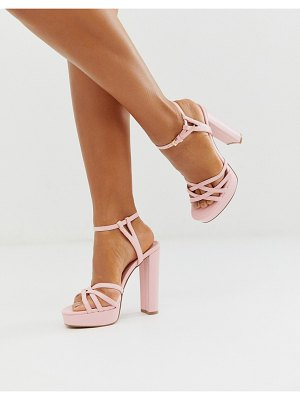 ASOS DESIGN nickle strappy platform barely there in baby pink