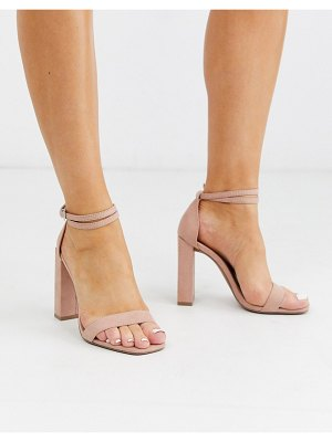 ASOS DESIGN notice barely there heeled sandals in beige