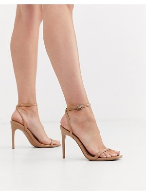 ASOS DESIGN nova barely there heeled sandals in beige