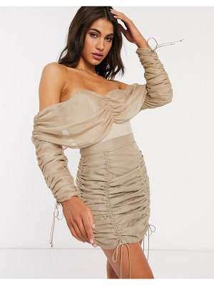ASOS DESIGN off shoulder top two-piece with ruching in stone-beige