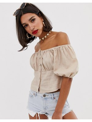 ASOS DESIGN off shoulder top with button detail in linen