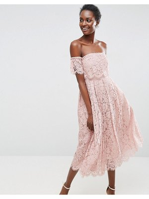 ASOS DESIGN off the shoulder lace prom midi dress-beige