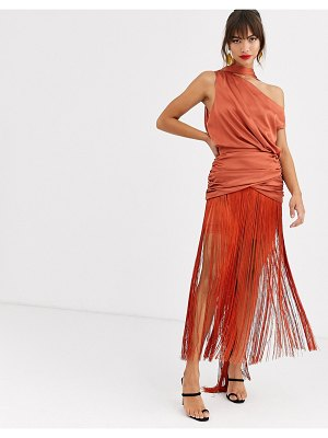 ASOS DESIGN one shoulder fringe maxi dress with satin top-brown