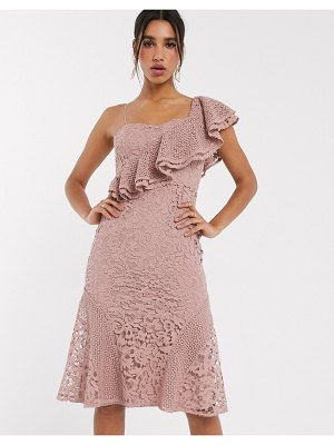 ASOS DESIGN one shoulder lace ruffle midi dress-beige