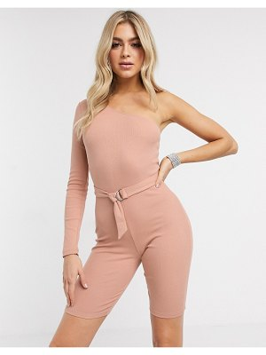 ASOS DESIGN one shoulder romper in rib-pink