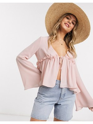ASOS DESIGN open blouse with ruffle front in blush-pink