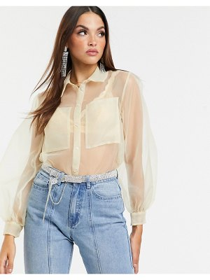 ASOS DESIGN organza long sleeve shirt