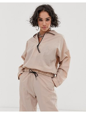 ASOS DESIGN over the head track jacket-beige