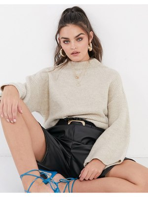 ASOS DESIGN oversize sweater with funnel neck in oatmeal-beige