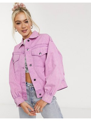 ASOS DESIGN oversized acid washed jacket in pink