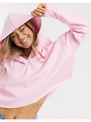 ASOS DESIGN oversized boxy crop hoodie with drop neck in pink