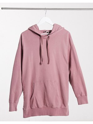 ASOS DESIGN oversized panelled hoodie in washed pink