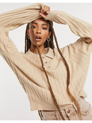 ASOS DESIGN oversized rugby style sweater with collar detail and pocket in stone
