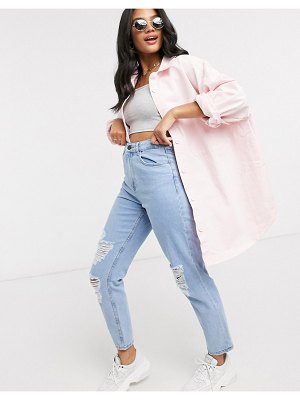 ASOS DESIGN oversized shacket in pink