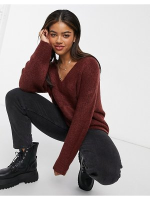 ASOS DESIGN oversized sweater with v-neck in chocolate-brown