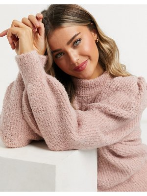 ASOS DESIGN oversized sweater with volume sleeves in pink-stone