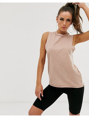 ASOS DESIGN oversized tank with exposed seams in brown